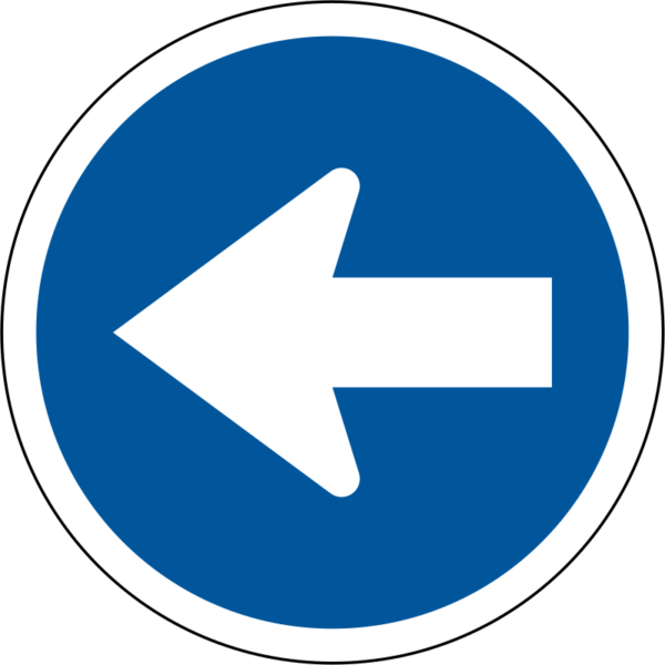 R105: Proceed Left Only  Sign