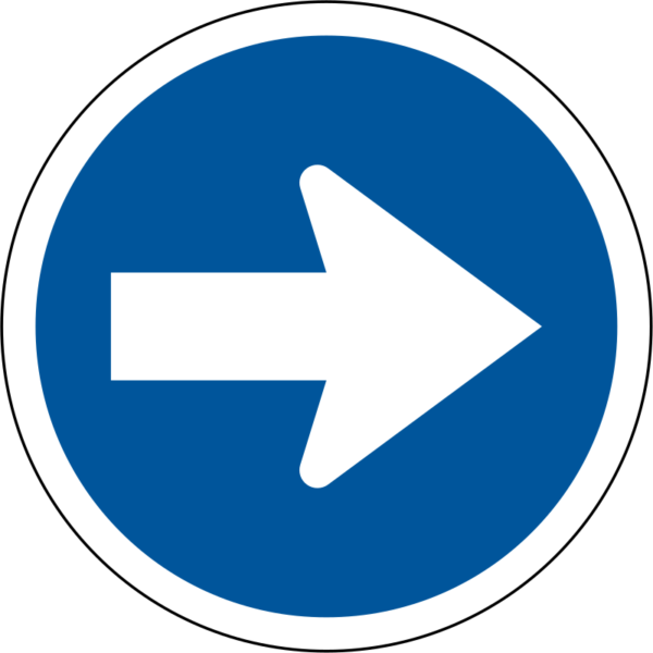 R106: Proceed Right Only Sign