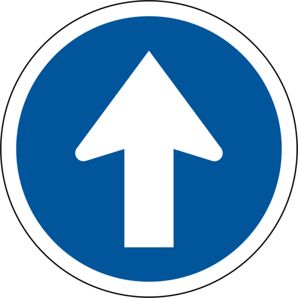 R107: Proceed Straight Only Sign