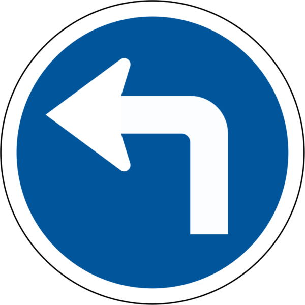 R108: Turn Left Sign
