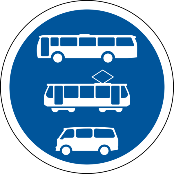 R140: Buses, Trams & Minibuses Only Sign