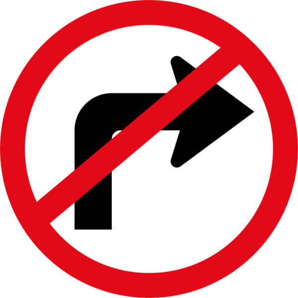 R210: Right Turn Ahead Prohibited Sign