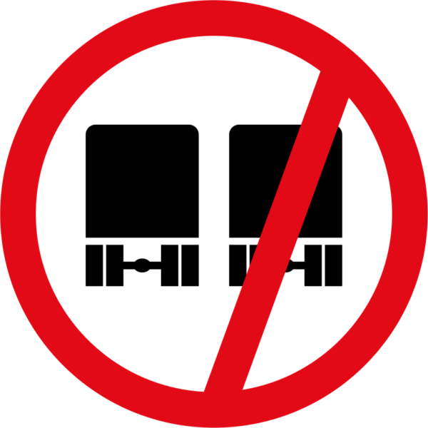 R215: Overtaking By Goods Vehicle Prohibited Sign