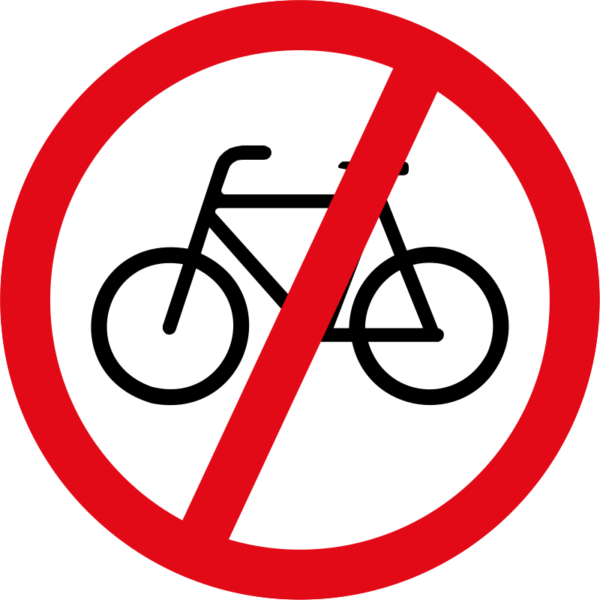 R219: Cyclists Prohibited Sign