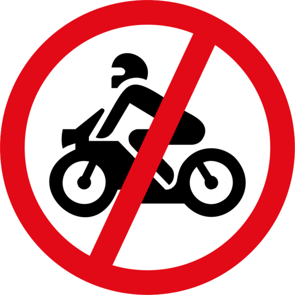 R222: Motor Cycles Prohibited Sign