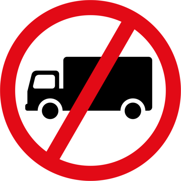 R229: Goods Vehicles Exceeding 3500 KG Prohibited Sign