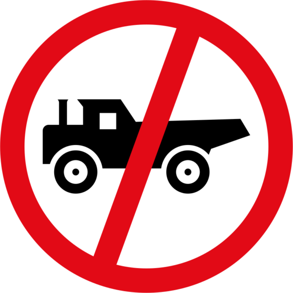 R231: Construction Vehicles Prohibited Sign