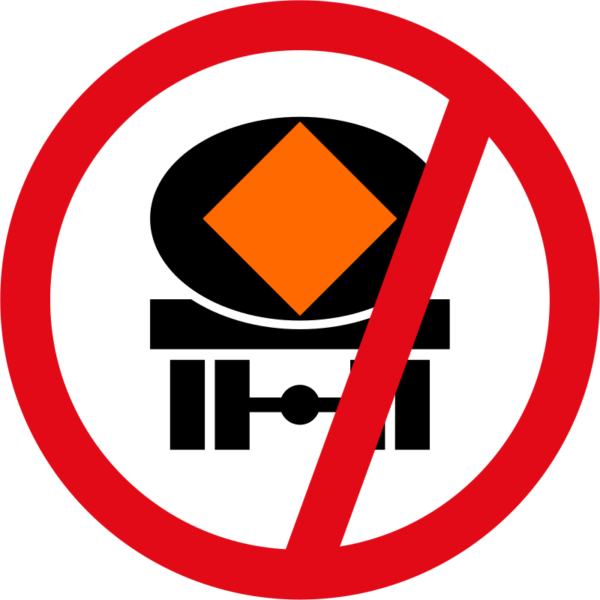 R232: Vehicles Conveying Dangerous Substances Prohibited Sign