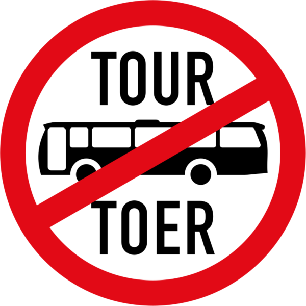 R235: Tour Buses Prohibited Sign