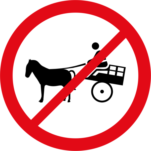 R237: Animal-Drawn Vehicles Prohibited Sign