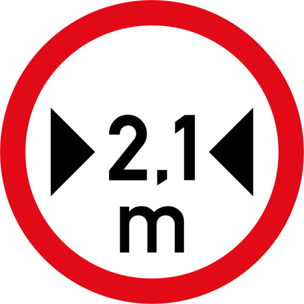 R239: Vehicles exceeding 2.1 metres in width prohibited