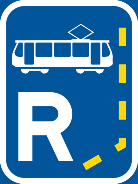 R340: Tram Lane Reservation Begins Sign