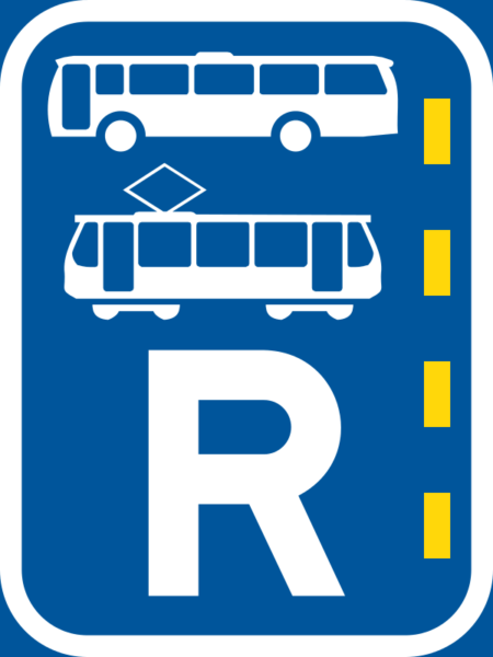R343: Bus & Tram Lane Reservation Sign