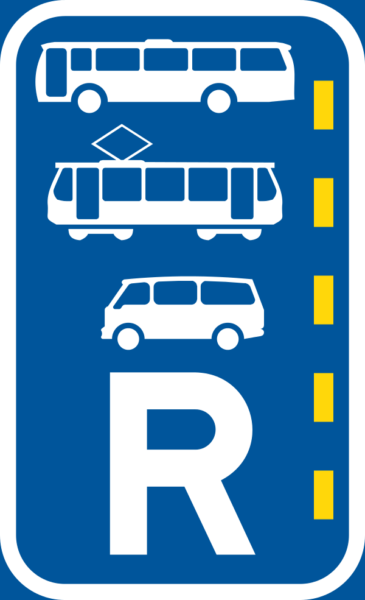 R346: Bus, Minbus & Tram Lane Reservation Sign