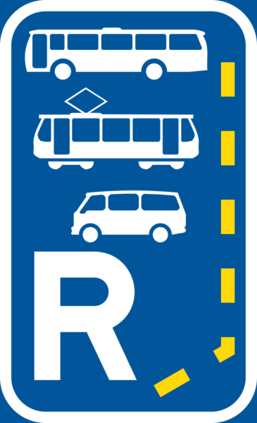 R347: Bus, Minbus & Tram Lane Reservation Begins Sign