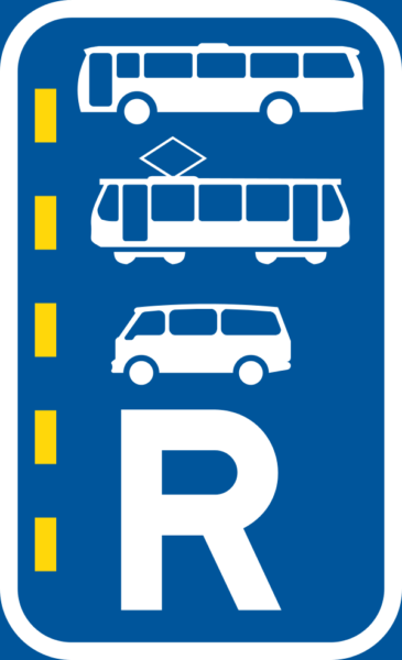 R351: Bus, Minibus & Tram Lane Right Reservation Sign