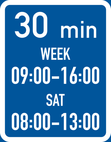 R505: Maximum Stay During Two Periods Or Days Time Limit Sign