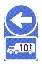 R105-569: Proceed Left Only,Goods Vehicle Over Indicated GVM