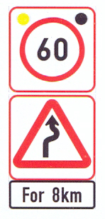 R201-RC+W208-WC+IN11.2-SS3: Speed Limit (On A High Visibility Background) Winding Road (Right-Left) (On A High Visibility Background) For A Distance, With Flashing Lights
