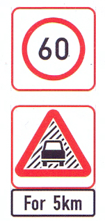 R201-RC+W354-WC+IN11.2: Speed Limit (On A High Visibility Background), Reduced Visibility (On A High Visibility Background) For A Distance