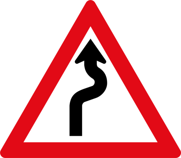 W208: Winding Road Sign Right Left