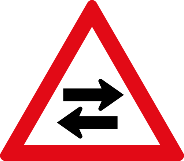 W213: Two-Way Traffic Crossroad Sign