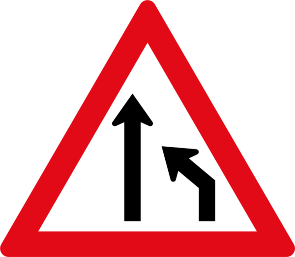 W214: Right Lane Ends Sign