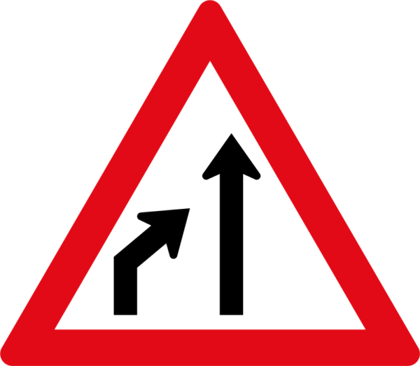 W215: Left Lane Ends Sign