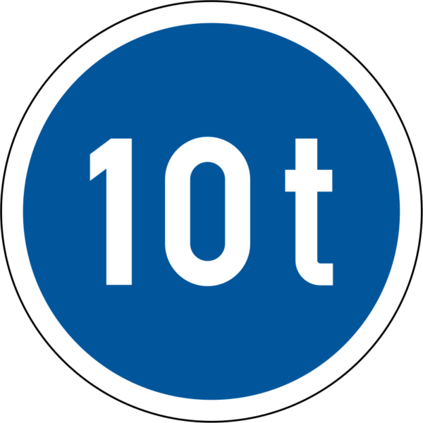 R102: Vehicles Exceeding Mass Only Sign