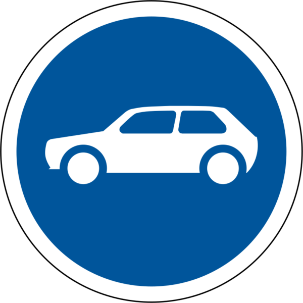 R117: Motor Cars Only Sign