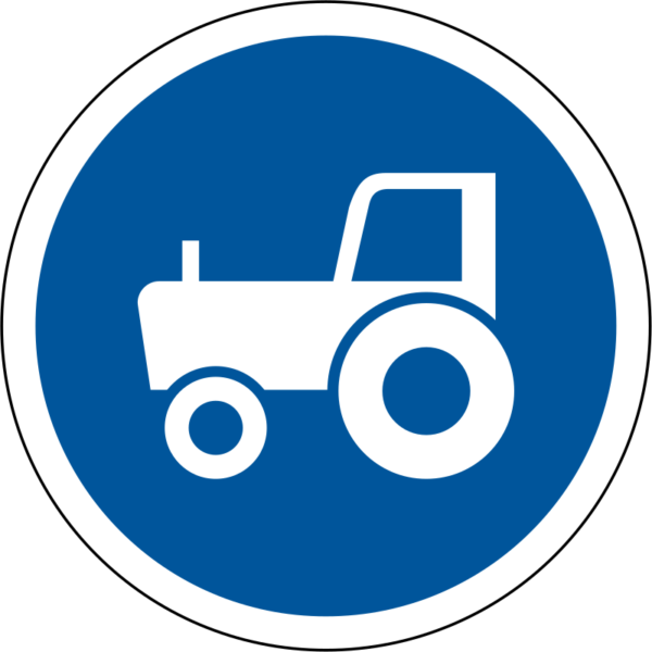 R130: Agricultural Vehicles Only Sign