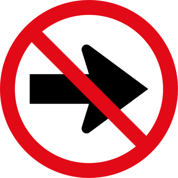 R212: Right Turn Prohibited Sign