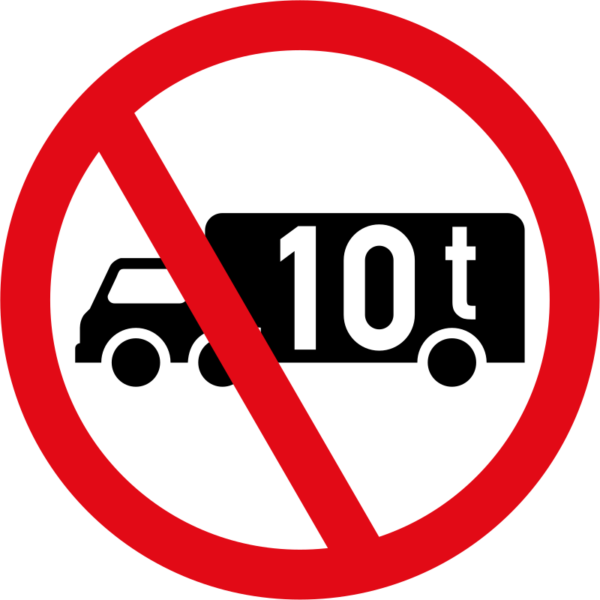 R230: Goods Vehicle Over Indicated GVM Prohibited Sign