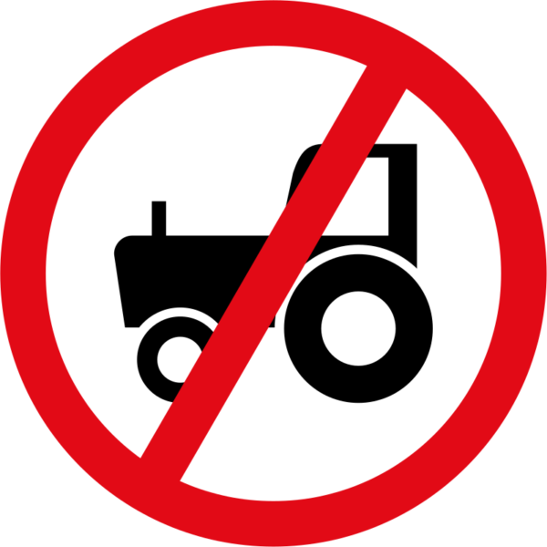 R236: Agricultural Vehicles Prohibited Sign