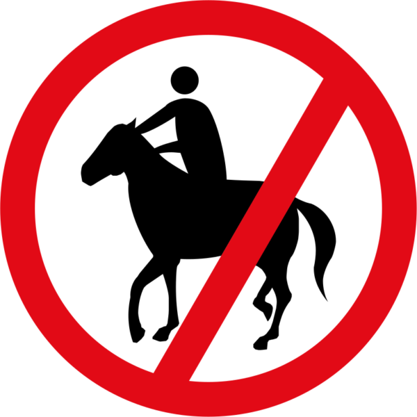 R238: Horses & Riders Prohibited Sign