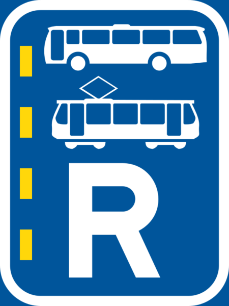 R350: Bus & Tram Lane Right Reservation Sign