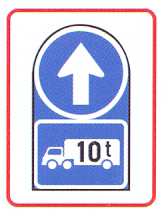 R107-569-RA: Proceed Straight Only + Goods Vehicle Over Indicated GVM (On A High Visibility Background)