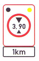 R204-RF+IN11.3-SS3: Height Limit (On A High Visibility Background) A Distance Ahead, Flashing Lights