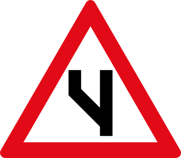 W119: Beginning of Dual Roadway to Left