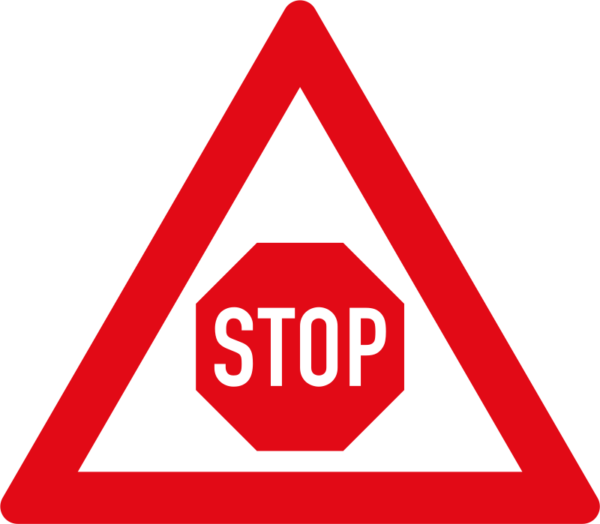 """W302: Traffic Control """"STOP"""" Ahead Sign"""