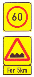 TR201-RC+TW331-WC+TIN11.2-SS3: Speed Limit ( On A High Visibility Background) On An Uneven Roadway For A Distance Plus Flashing Light