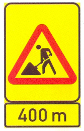 TW336-WF+TIN11.3: Roadwork (On A High Visibility Background) A Distance Ahead