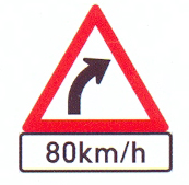 W202+IN11.1: Gentle Curve (Right), Recommended Speed