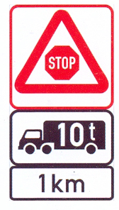 """W302-WA+IN11.569+IN11.3: Traffic Control """"Stop"""" Ahead (On A High Visibility Background), Goods Vehicle Over Indicated GVM, A Distance Ahead"""